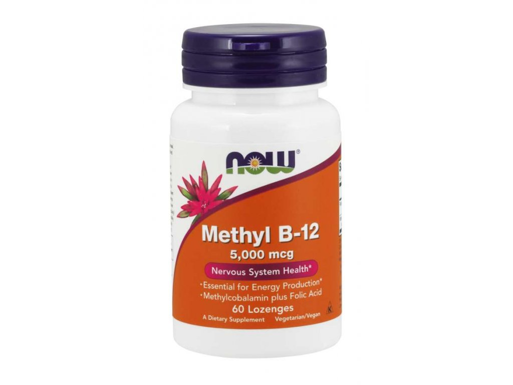 NOW Methyl B 12 (Vitamín B12), 5000 mcg, 60 pastilek