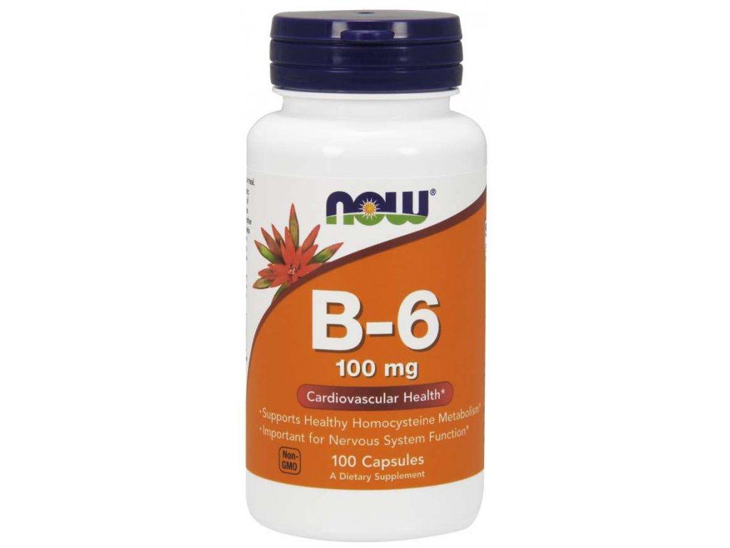 NOW Vitamin B6 Pyridoxin, 100mg, 100 kapslí