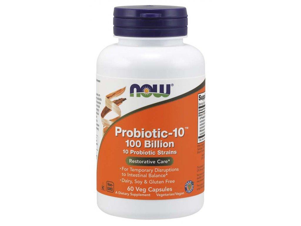 NOW Probiotic 10, probiotika, 100 miliard CFU, 10 kmenů, 60 rostlinných kapslí