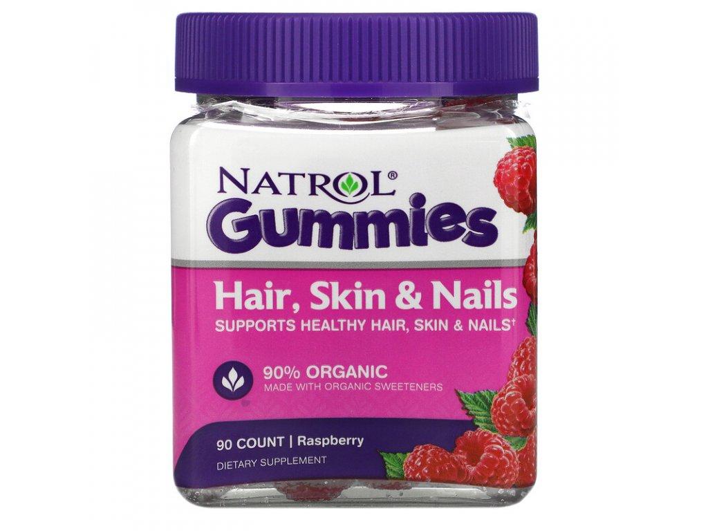 Natrol Hair, Skin & Nails (Zdravé vlasy, pokožka, nehty), Malina, 90 žvýkacích bonbónů