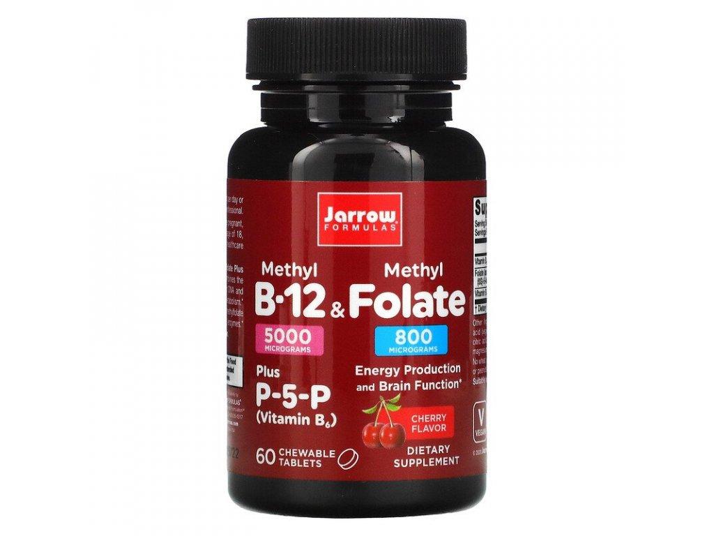 Jarrow Methyl Folate (Aktivní forma kyseliny listové, třešeň), 800mcg, 60 žvýkacích pastilek