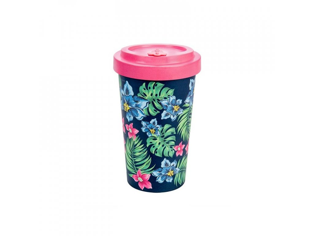 woodway opakovane pouzitelny kelimek na kavu z prirodniho materialu 500ml tropical pink