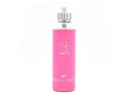 sklenena lahev v ruzovem termo obalu natu 550 ml (2)