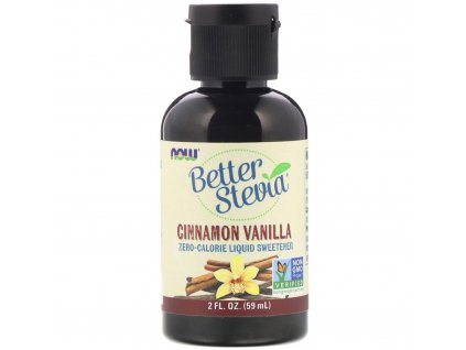 NOW Better Stevia Liquid, Skořice vanilka, 59ml