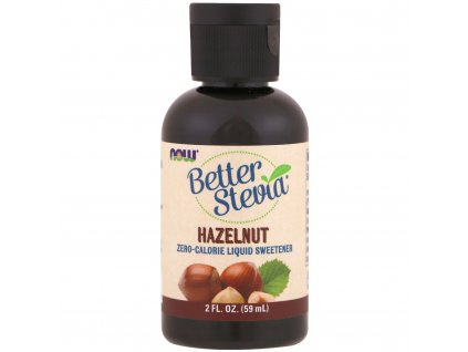 NOW Better Stevia Liquid, Lískový oříšek, 59ml