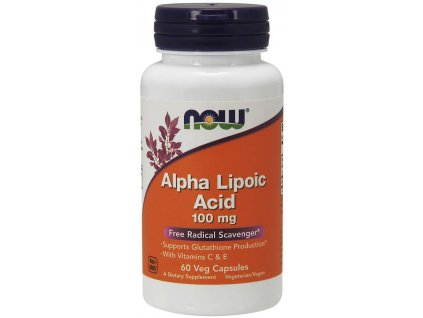 NOW Alpha Lipoic Acid, Kyselina Alfa Lipoová s vitamínem C & E, 100 mg, 60 rostlinných kapslí