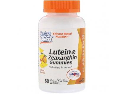 Doctor's Best Lutein & Zeaxanthin (zdraví očí), 60 gumových vegan bonbónů s příchutí manga