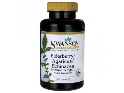 Elderberry, agaricus, echinacea
