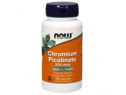 NOW Chromium Picolinate, 200 mcg, 100 rostlinných kapslí