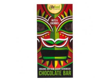 LifeFood - čokoláda z nepraženého kakaa s kousky ořechů a třešní BIO, 70g  CZ-BIO-001 certifikát