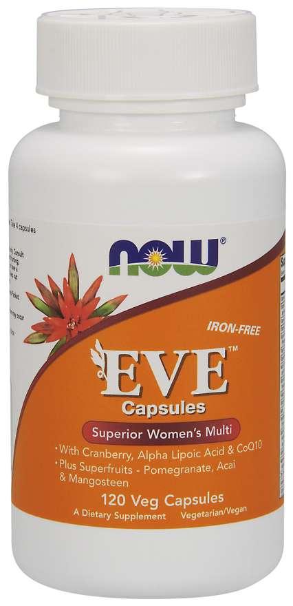 NOW® Foods NOW Multi Vitamins Eve, Multivitamín pro Ženy, 120 rostlinných kapslí