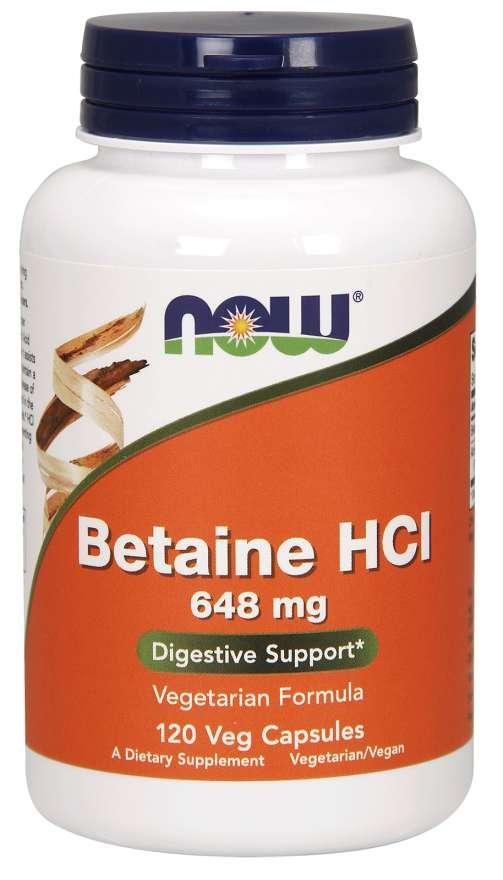 NOW® Foods NOW Betaine HCl, vegetariánský, 648 mg, 120 rostlinných kapslí