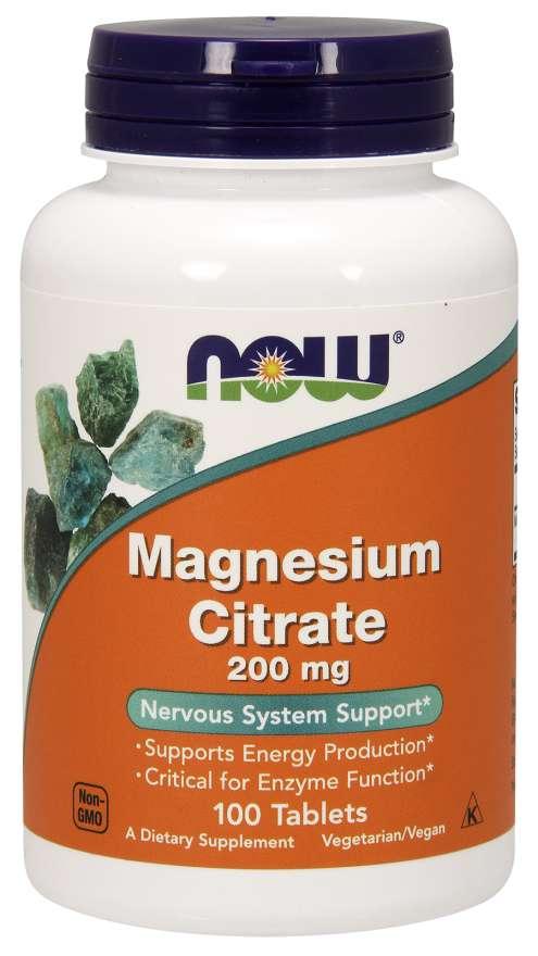NOW® Foods NOW Magnesium Citrate (hořčík citrát), 200 mg, 100 tablet