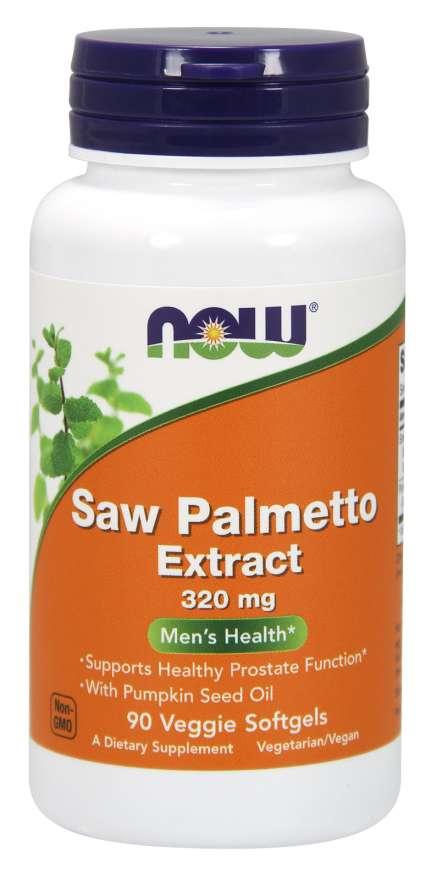 NOW® Foods NOW Saw Palmetto (Serenoa plazivá) extrakt, 320 mg, 90 rostlinných softgel kapslí
