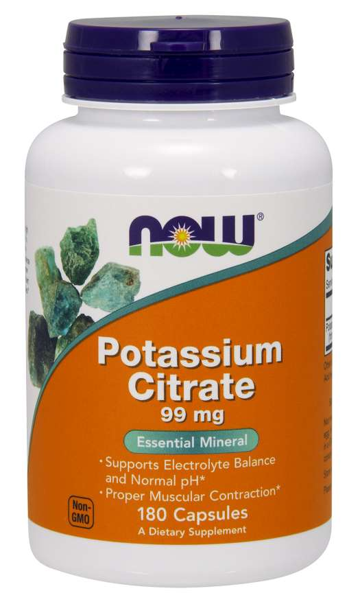 NOW Potassium Citrate (draslík jako citrát draselný), 99 mg, 180 rostlinných kapslí