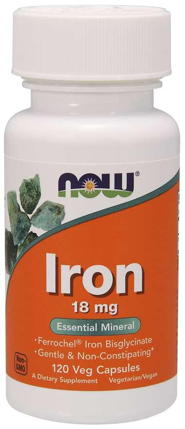 NOW Iron Bisglycinate, železo chelát (Ferrochel), 18 mg, 120 rostlinných kapslí