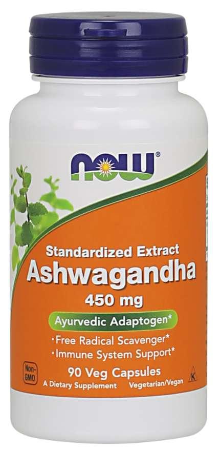 NOW Ashwagandha (Vitánie snodárná) extrakt, 450 mg, 90 rostlinných kapslí