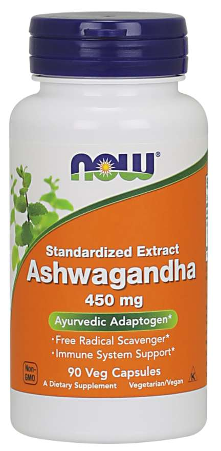NOW® Foods NOW Ashwagandha (Vitánie snodárná) extrakt, 450 mg, 90 rostlinných kapslí
