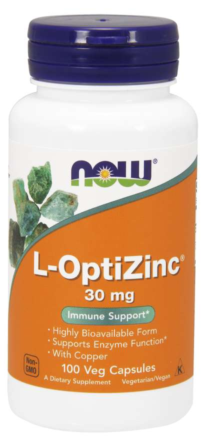 NOW® Foods NOW L-OptiZinc Zinek + Měď, 30 mg, 100 rostlinných kapslí