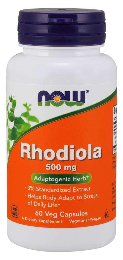 NOW Rhodiola rosea (Rozchodnice růžová), 500 mg, 60 rostlinných kapslí