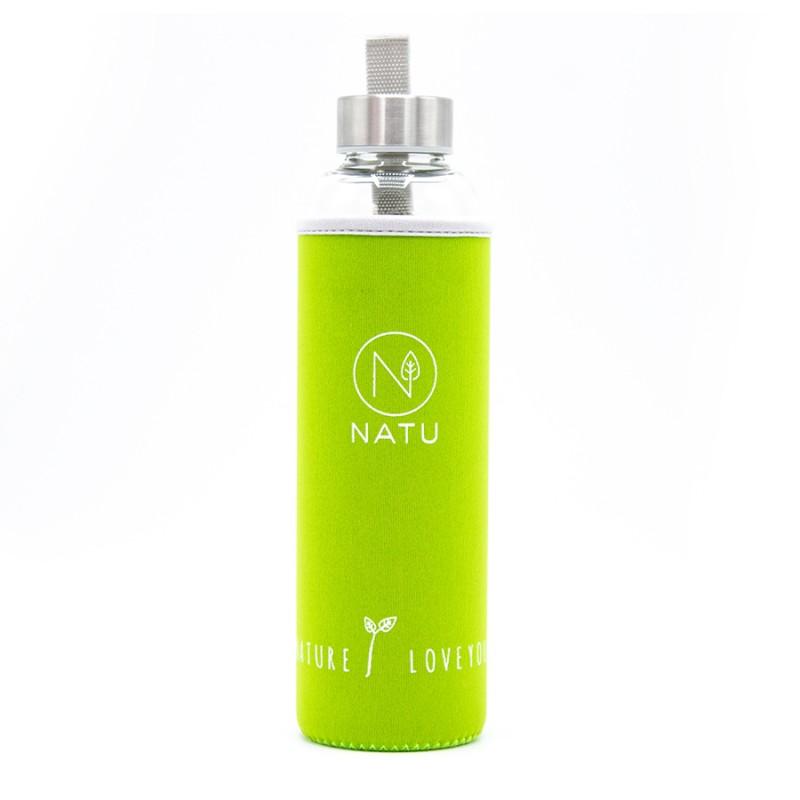 NATU - Skleněná lahev v zeleném termo obalu, 550ml
