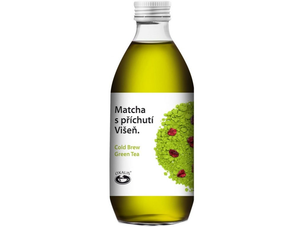 Oxalis Matcha s příchutí Višeň - Cold Brew Green Tea, 330 ml