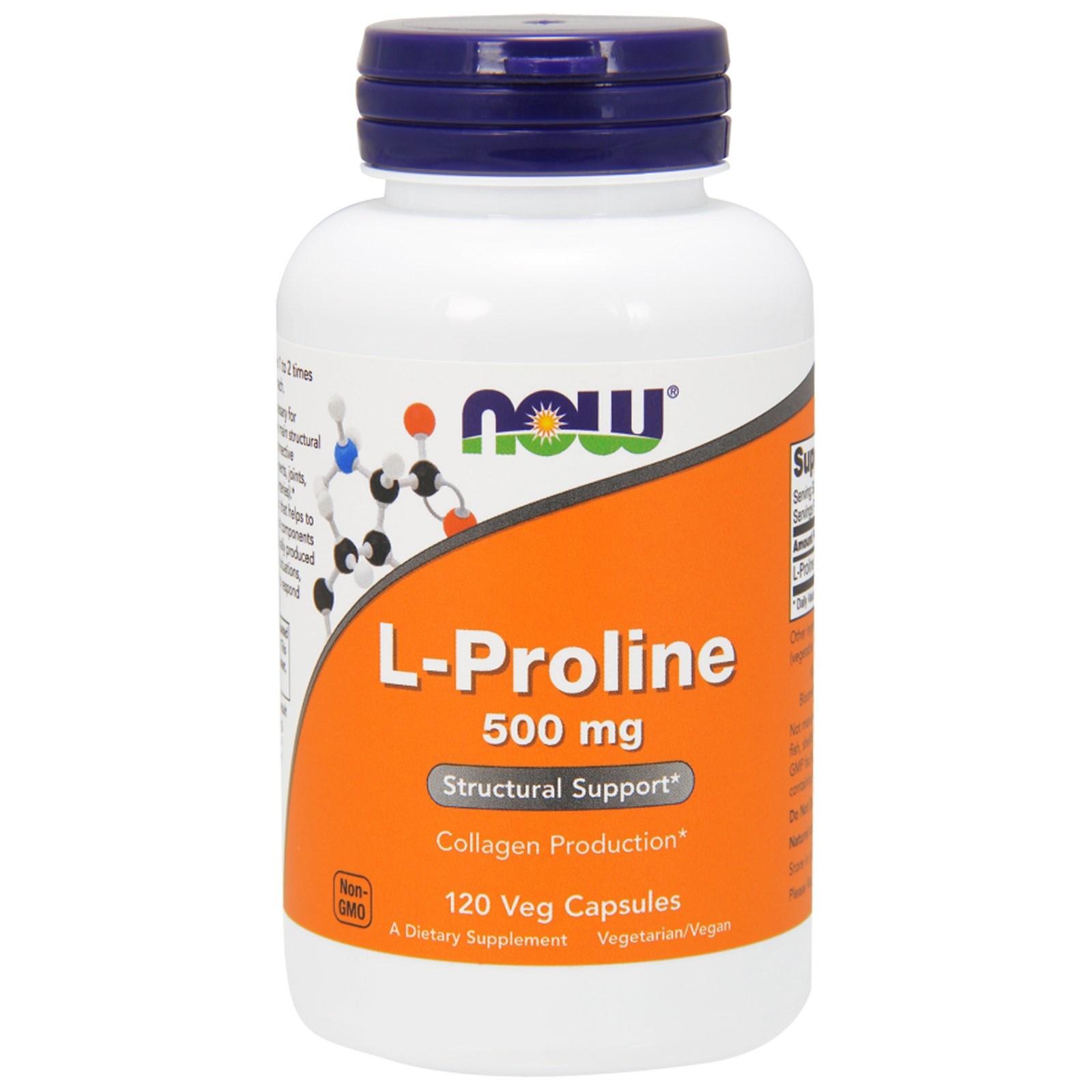 NOW® Foods NOW L-Prolin, 500 mg, 120 rostlinných kapslí