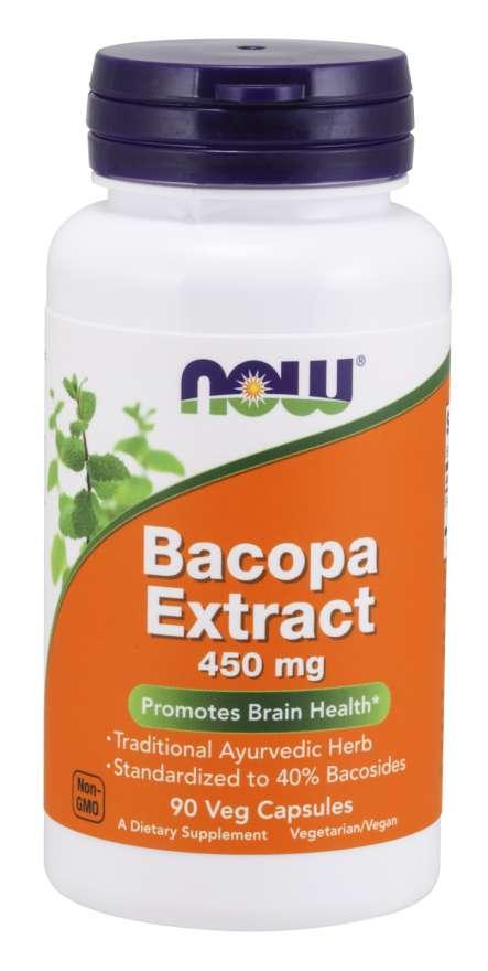 NOW Bacopa monnieri (Brahmi) extrakt, 450 mg, 90 rostlinných kapslí