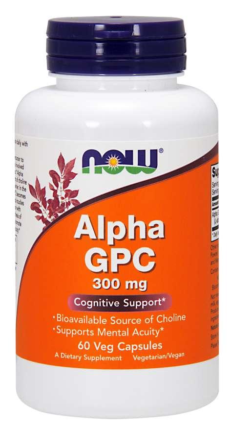 NOW® Foods NOW Alpha GPC (L-alfa-glyceryl fosforyl cholin), 300 mg, 60 rostlinných kapslí