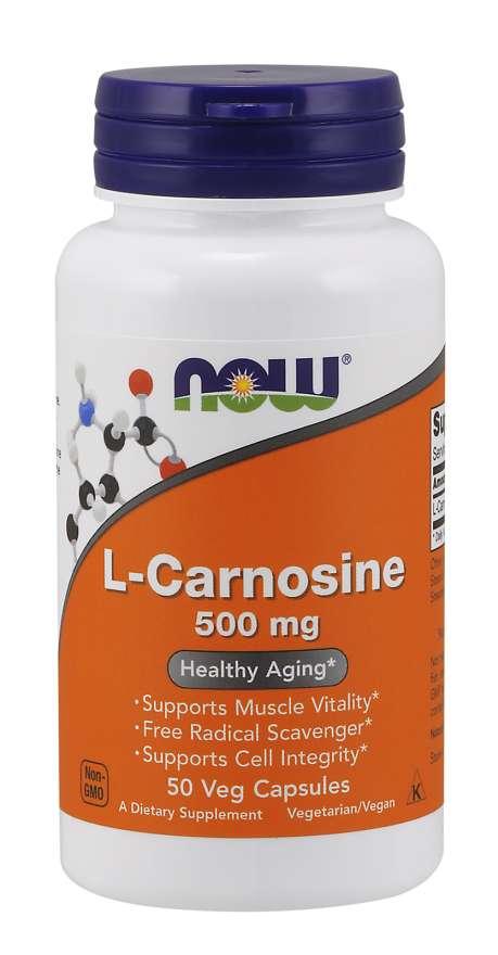 NOW® Foods NOW L-Karnosin, 500 mg, 50 rostlinných kapslí