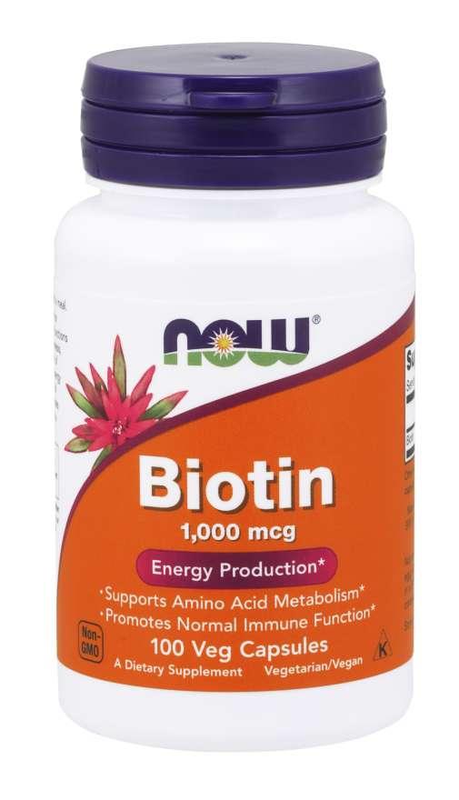 NOW Biotin, 1000 ug, 100 rostlinných kapslí