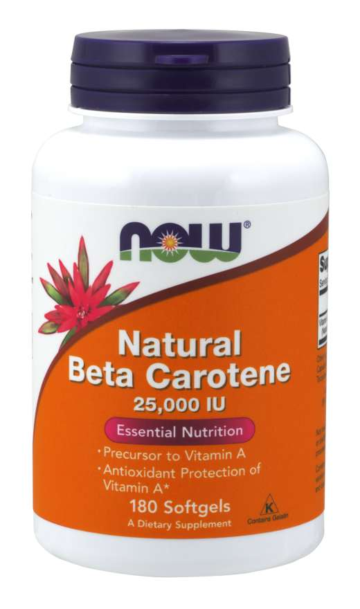 NOW® Foods NOW Vitamin A, Přírodní betakaroten, 25000 IU, 180 softgel kapslí