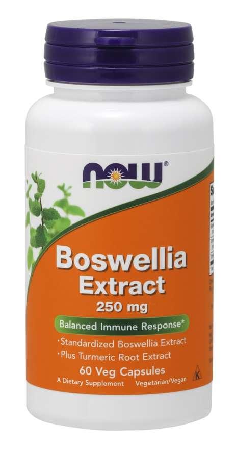 NOW® Foods NOW Boswellia Extrakt + Extrakt z kurkumy, 250 mg, 60 vegetariánských kapslí