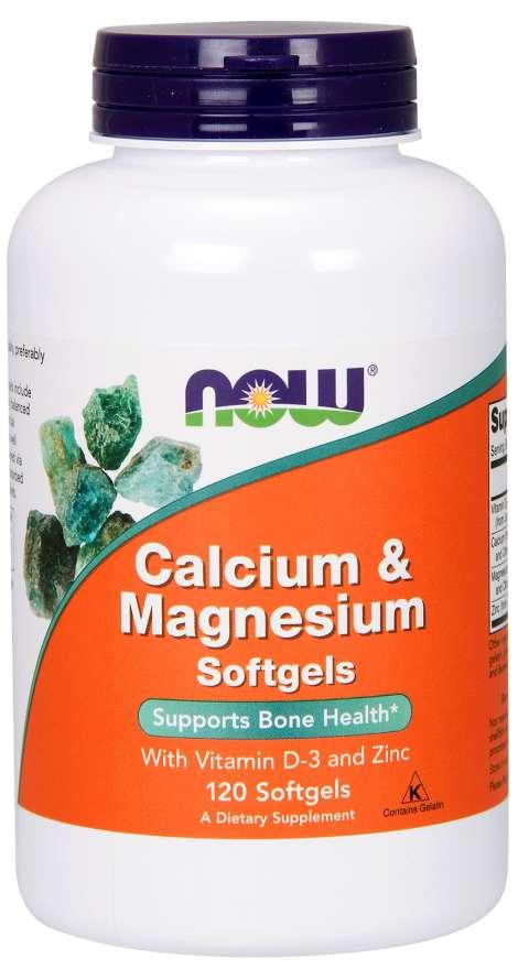 NOW® Foods NOW Calcium & Magnesium, with Vitamin D-3 and Zinc, Vápník + Hořčík + Vitamín D3 a Zinek, 120 softgelových kapslí