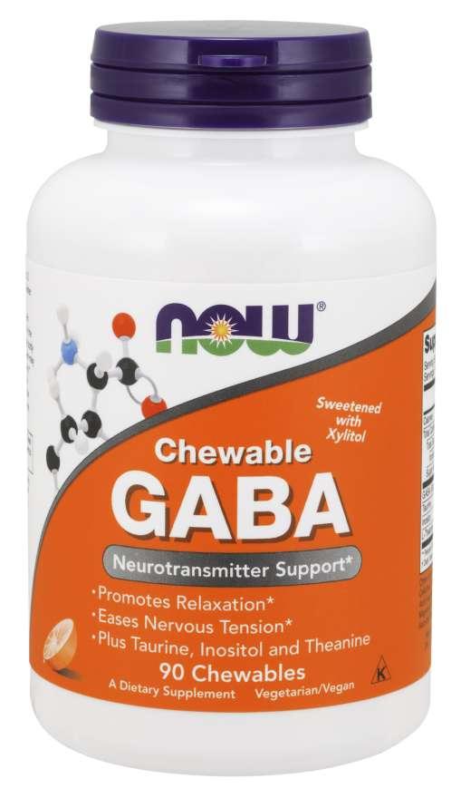 NOW® Foods NOW GABA 500 mg + Taurin, Inositol a L-Theanin, 90 žvýkacích kapslí