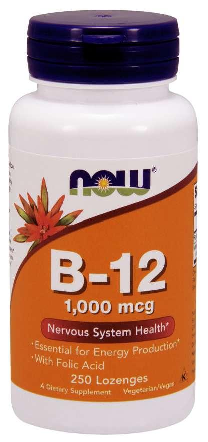 NOW® Foods NOW Vitamin B12 with Folic Acid (Vit B12 a Kyselina listová), 1000 mcg, 250 pastilek