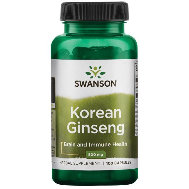 Swanson Korean Ginseng (korejský ženšen), 500 mg 100 kapslí