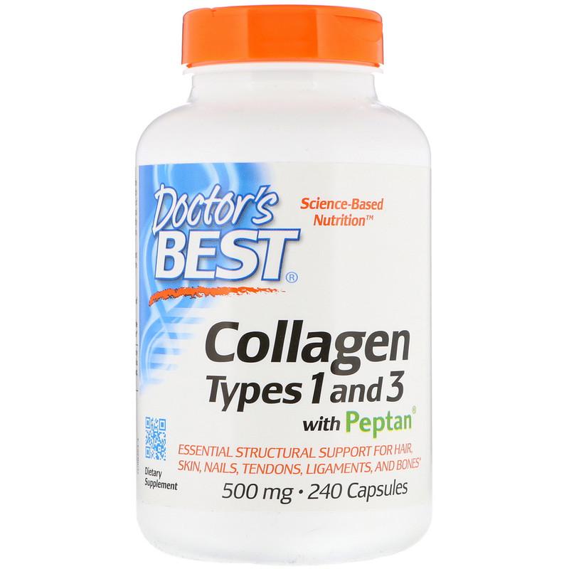 Doctor's Best Doctor's Best Kolagen, Typ I & III + peptan, 500 mg, 240 kapslí