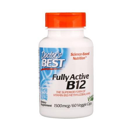 Doctor's Best Vitamin B12 (Metylkobamin - aktivovaná forma) 1500 mcg, 60 rostlinných kapslí