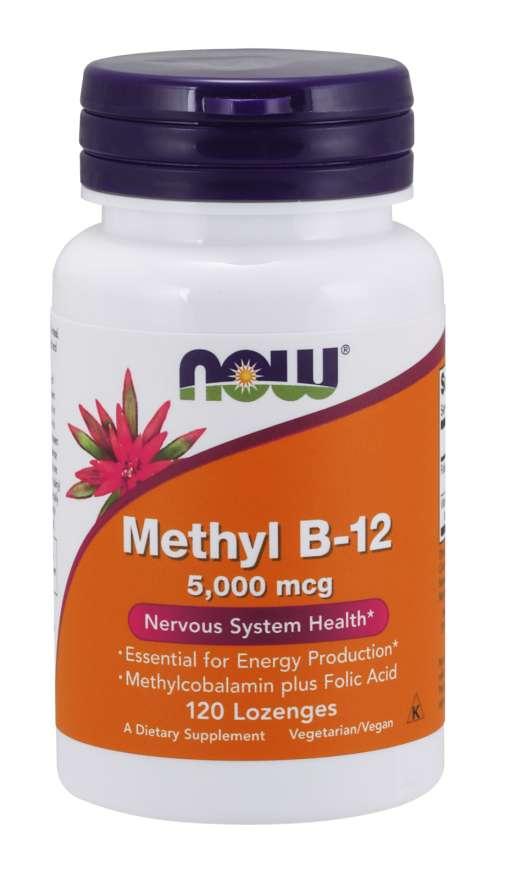NOW® Foods NOW Methyl B-12 with Folic Acid (Vitamín B12 + Kyselina Listová), 5000 mcg, 120 pastilek