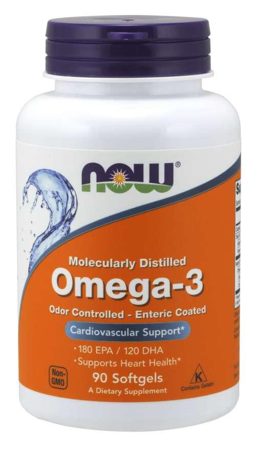 NOW® Foods NOW Omega-3, molekulárně destilované a enterosolventní kapsle, 90 softgelových kapslí