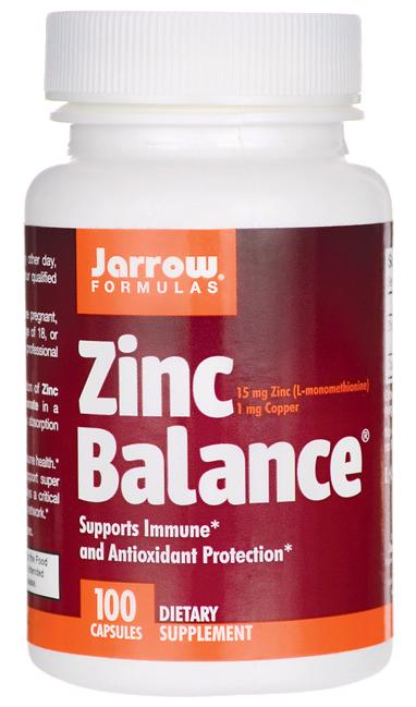 Jarrow Formulas Zinc Balance, L-methionin zinek L-OptiZinc + měď, 15mg, 100 kapslí