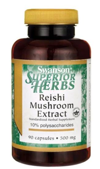 Swanson Reishi Mushroom Extract, 500 mg, 90 kapslí