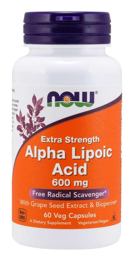 NOW Alpha Lipoic Acid (Kyselina Alfa Lipoová) with Grape Seed Extract & Bioperine, 600  mg, 60 rostlinných kapslí