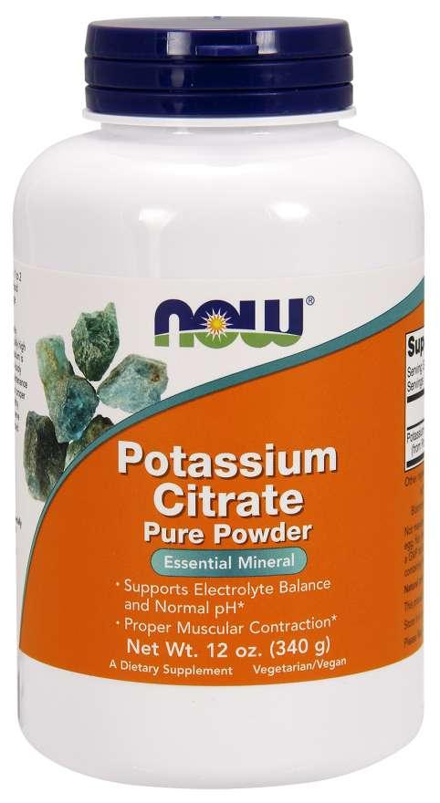 NOW Potassium Citrate (draslík jako citrát draselný), Pure powder, 340g