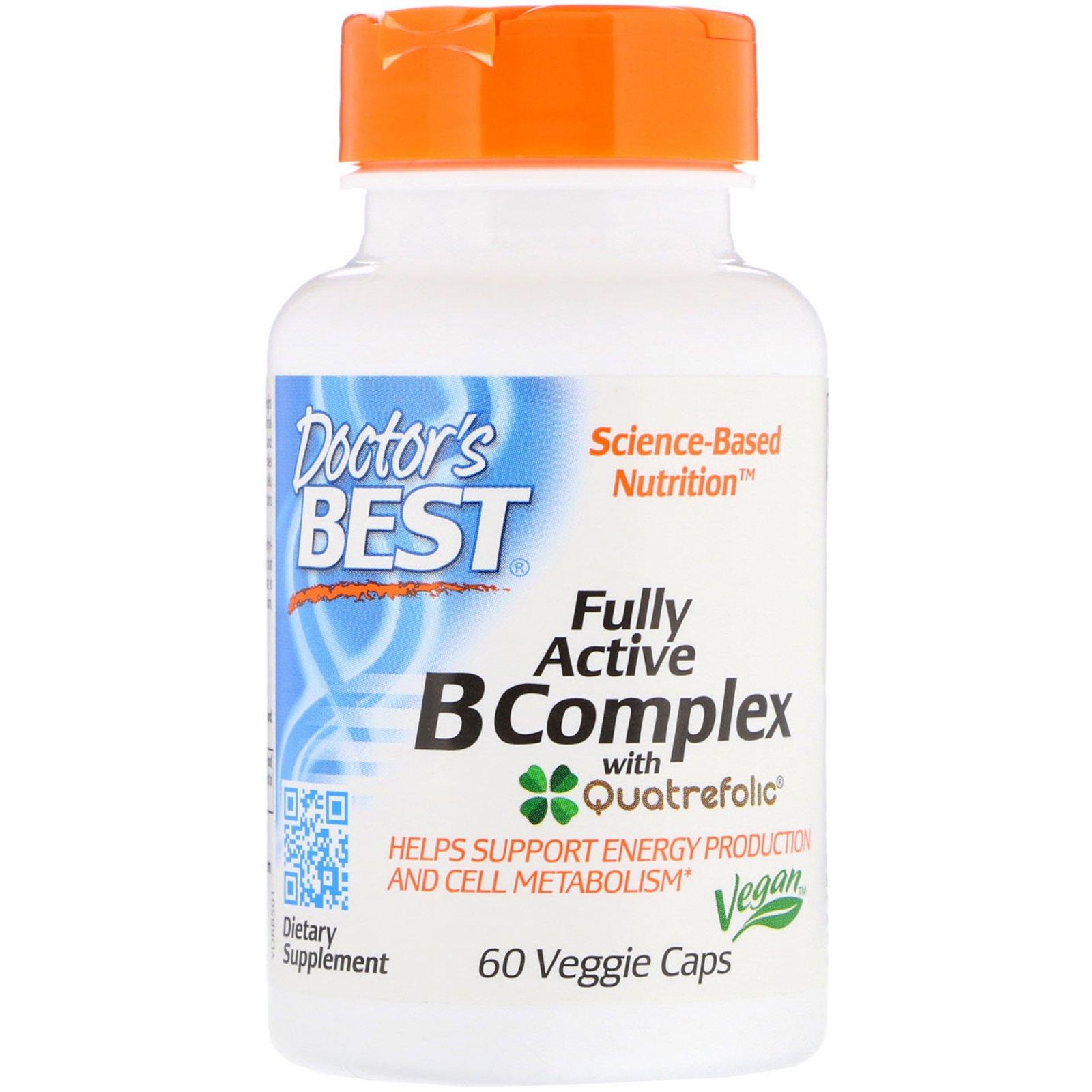 Doctor's Best Fully Active B komplex, (Vitamíny B a kyselina listová v aktivovaných formách) 60 rost