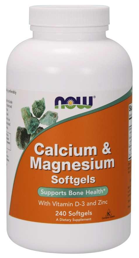 NOW® Foods NOW Calcium & Magnesium, with Vitamin D-3 and Zinc, Vápník + Hořčík + Vitamín D3 a Zinek, 240 softgelových kapslí