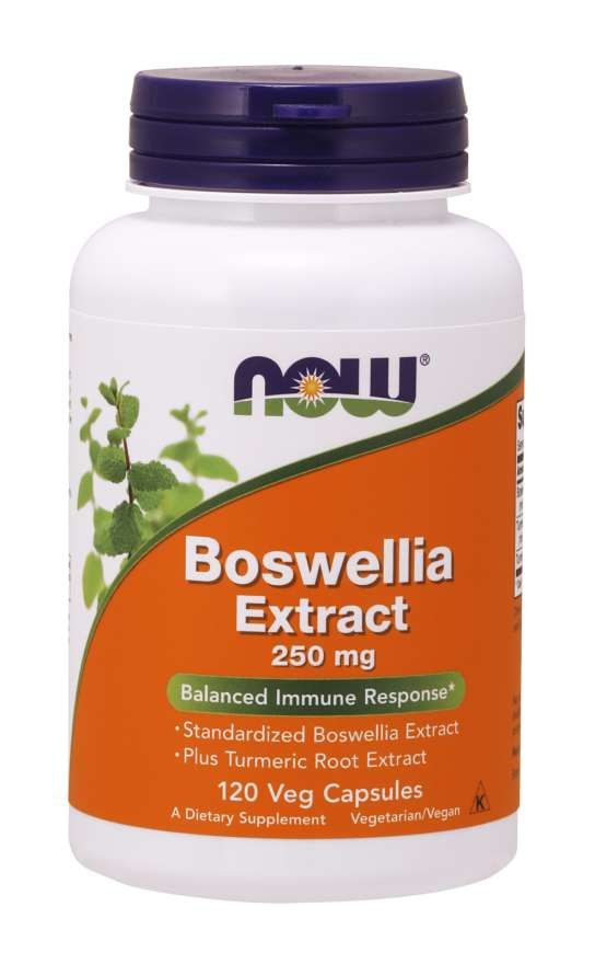NOW® Foods NOW Boswellia Extrakt + Extrakt z kurkumy, 250 mg, 120 vegetariánských kapslí