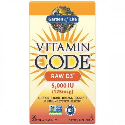 Garden of Life Vitamin Code RAW D3, 5000 IU, 60 kapslí