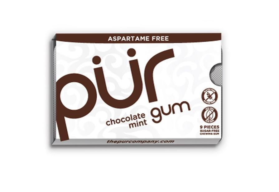 PÜR přírodní žvýkačky bez Aspartamu, Máta a čokoláda, 9ks